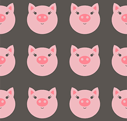 Seamless Cute Pig